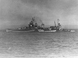 USS Tuscaloosa (CA-37) off Iwo Jima, 16 February 1945