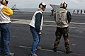 US Navy 040609-N-0511C-013 The Lt. Governor of Alaska, Mr. Loren Leman, observes flight operations from the flight deck aboard the Nimitz-class aircraft carrier USS John C. Stennis (CVN 74).jpg