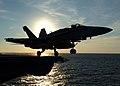 US Navy 051107-N-0119G-003 An F-A-18C Hornet launches from the flight deck of the nuclear-powered aircraft carrier USS Enterprise (CVN 65).jpg