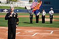 US Navy 060313-N-3271W-010 Journalist 1st Class Andrew Scharnhorst sings the National Anthem to start off a baseball game at Maryvale Ball Park in Phoenix as part of the festivities for Navy Week.jpg