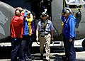 US Navy 070822-N-1752H-100 Secretary of the Navy (SECNAV), the Honorable Dr. Donald C. Winter walks among the rainbow sideboys on the flight deck of USS Peleliu (LHA 5).jpg