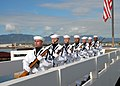 US Navy 081207-N-2915M-057 Members of the Navy Region Hawaii Ceremonial Guard march in formation at the conclusion of a ceremony in honor Pearl Harbor survivor Lt. Wayne Maxwell.jpg