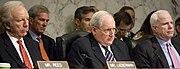 US Navy 090604-N-5549O-031 U.S. Senators Joe Lieberman, left, Carl Levin, chairman of the Senate Armed Services Committee, and John McCain listen to Secretary of the Navy (SECNAV) the Honorable Ray Mabus