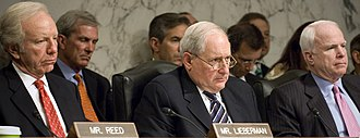 United States Senate Committee on Armed Services - In June 2009, Armed Services Committee senators Joe Lieberman, Carl Levin (chair), and John McCain, listen to Secretary of the Navy Ray Mabus deliver his opening remarks for the fiscal year 2010 budget request in June 2009.