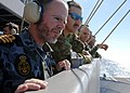 US Navy 090715-N-7282P-054 HMAS Coonawarra Darwin Naval Base Commanding Officer, Cmdr. Ainsley Morthorpe and military guests from the Australian Defense Force observe flight operations from the signal bridge aboard USS George W.jpg