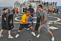 US Navy 110624-N-XO436-173 Sailors conduct Security Reaction Force Basic (SRF-B) drills aboard the guided-missile destroyer USS Barry (DDG 52).jpg