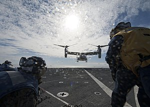 US Navy 120131-N-NR955-119 An Osprey helicopter lands on the flight deck.jpg