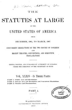 United States Statutes at Large Volume 34 Part 1.djvu