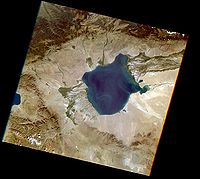 Satellite shot of the Uvs Nuur Basin (Landsat-7, 2002-08-08)