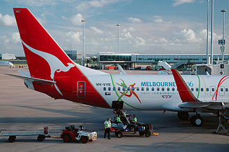 2006 Commonwealth Games - Qantas Airlines showcasing the logo of the 2006 Commonwealth Games.