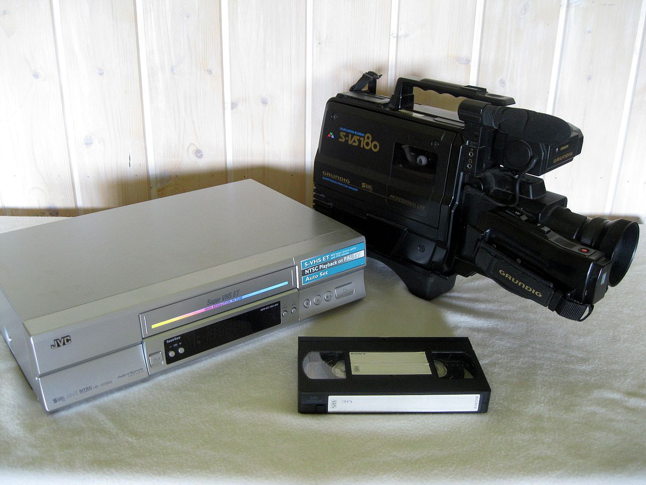 File:VHS recorder, camera and cassette.jpg - Wikimedia Commons