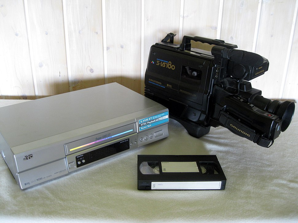 VHS recorder, camera and cassette