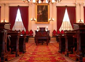 Vermont State House - In the well of Representatives Hall, with the rescued portrait of George Washington above the speaker's chair