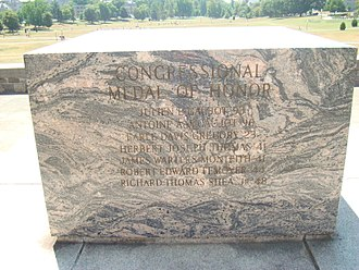 """Jimmie W. Monteith - Monteith's name, incorrectly listed as """"James Warters Monteith,"""" on Virginia Tech's Cenotaph."""