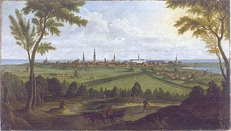 Vesterbrogade - Vesterbrogade and Gammel Kongevej seen diverging each other from Valby Hill in 1758