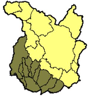 Valdinievole - The 11 Comuni of Valdinievole shown in brown within the province of Pistoia