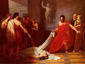 Charles-Auguste van den Berghe - Aegisthus discovers the body of Clytemnestra, his entry for the Prix de Rome competition in 1823, for which he won 3rd place