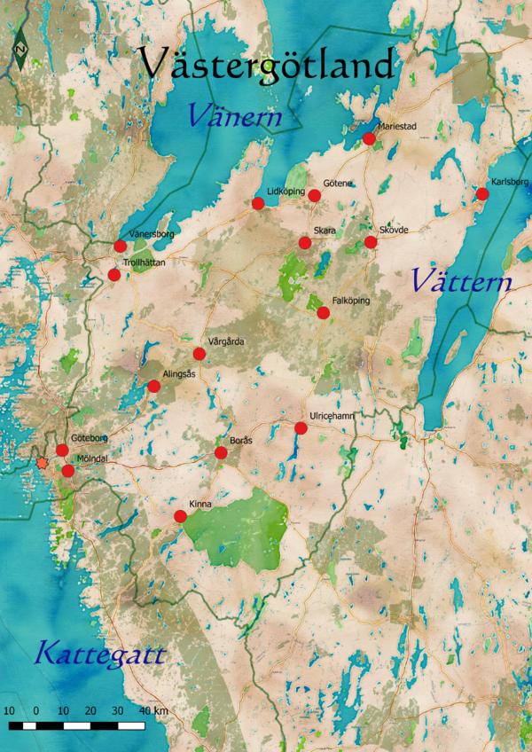 Karta Alingsas Boras.Vastergotland Skolbok