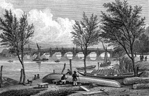 The Boat Race 1836 - Vauxhall Bridge, by which Cambridge held a substantial lead