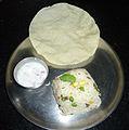 Vegetable Pulav with Pappad and Onion Raitha.JPG
