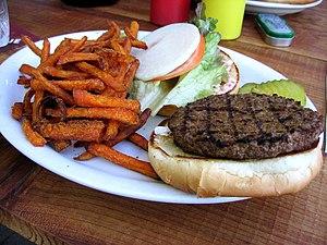 English: Veggie Burger and Sweet Potato fries ...
