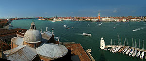 Venice, Veneto, Italy. Panorama from the top o...