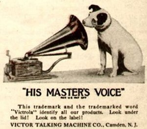 Production of phonograph records - Victor (later RCA Victor) logo featuring Nipper the dog