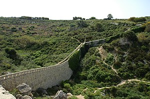 Defense line - The Victoria Lines, a line of fortification in Malta built to divide the sparsely populated north of the island from the densely populated south