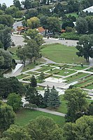 Vienna-Danube tower, view to flowerbeds in the Danube park.JPG