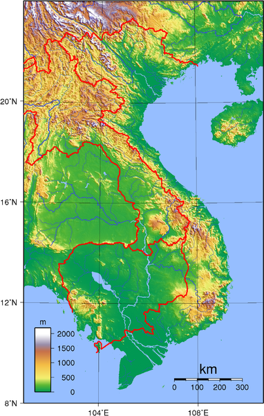 Topographic map of Vietnam By Sadalmelik (Own work) [Public domain], via Wikimedia Commons