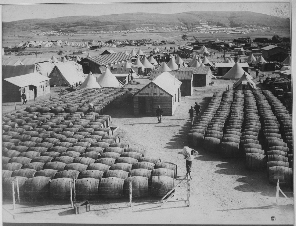 View of Mudros showing French wine store. In the background is the French hospital. Lemnos Island, Aegean Sea.... - NARA - 533107