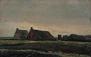 Hoogeveen - Huts in Zwartschaap, on the way between Hoogeveen and Pesse, painted by Van Gogh in 1883