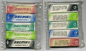 Ski wax - Russian Visti (Висти)–brand klisters, graded by color and temperature range.