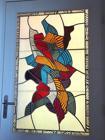 File vitrail au plomb peinture sur verre jpg wikimedia for Peinture sur verre
