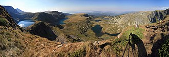 Seven Rila Lakes - Panoramic view of the Seven Rila Lakes from Mount Ezeren