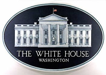 Backdrop emblem in the White House Press Room