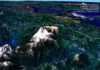 Vertical exaggeration - A vertically exaggerated mountain. In reality, the terrain would appear much flatter.