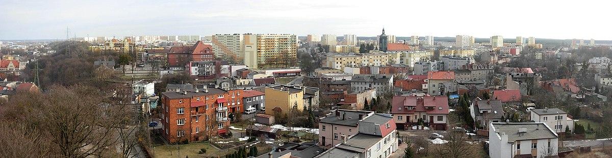 Polski: Panorama osiedla Szwederowo z wieży ciśnień