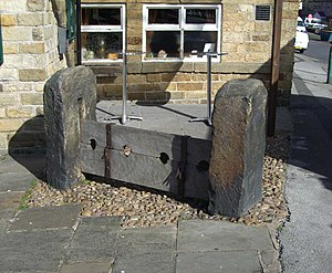 Wadsley - The medieval stocks still stand outside the Wadsley Jack pub, they are a grade two listed monument.