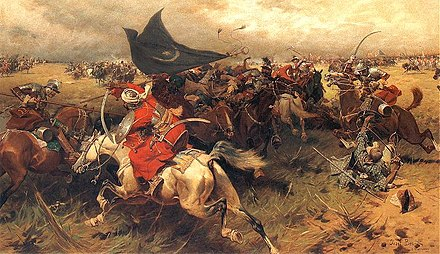 Ottoman sipahis in battle, holding the crescent banner (by Jozef Brandt) Walka o sztandar turecki.jpg