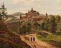 Wanderer vor der Burg Pernstein.jpg