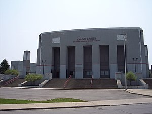 War Memorial Stadium (Buffalo) - Main entrance (left field corner) in 2011, at Dodge Street and Jefferson Avenue