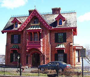 Montgomery–Grand–Liberty Streets Historic District - Calvert Vaux's Warren House, epitomizing the highly decorative designs Downing popularized.