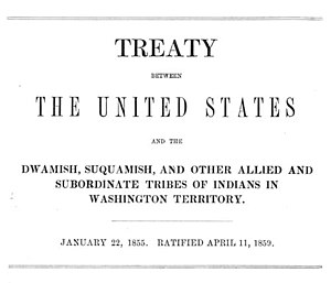 Treaty of Point Elliott - Image: Washington edu Treaty betw. US & Duw. Suq. & other allied, 22Jan 1855, Dwamish 1