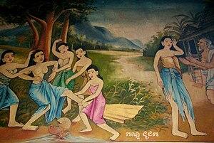 Vessantara Jataka - Vessantara Jataka mural, Wat Phnom, Phnom Penh, Cambodia. The girl Amittada is beaten up by the village girls, humiliated she goes to complain to her old husband.