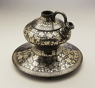An 18th century Bidriware, water pipe base of Hookah, displayed at the Los Angeles County Museum of Art Water pipe base, Bidriware, Hyderabad, India.jpg