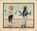 Watercolour painting on paper of two male figures, possibly Nara and Narayana, twin incarnations of Viṣṇu..jpg