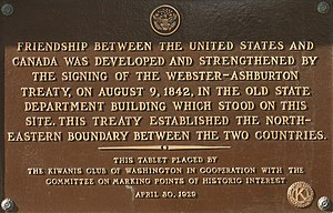 Webster–Ashburton Treaty - Plaque in Washington, D.C.