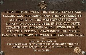 Webster–Ashburton Treaty - Plaque in Washington, D.C.