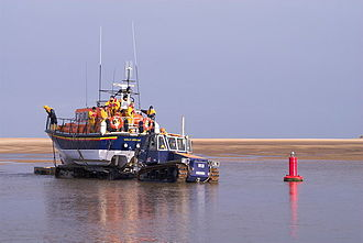 Wells-next-the-Sea - Wells-next-the-sea lifeboat being towed to the lifeboat house.